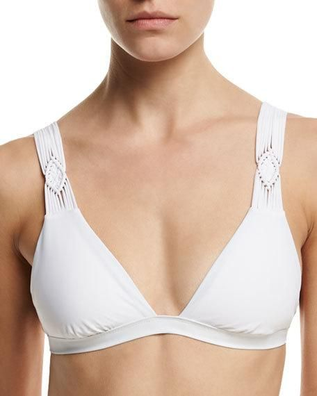Macrame Bikini Swim Top, White