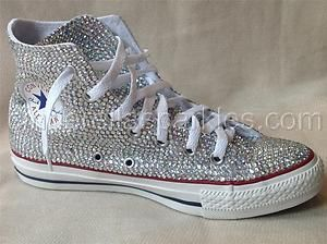 c8c2ad01bfd9 White Chuck Taylor High Top Crystal Rhinestone Converse Bridal Prom Romany