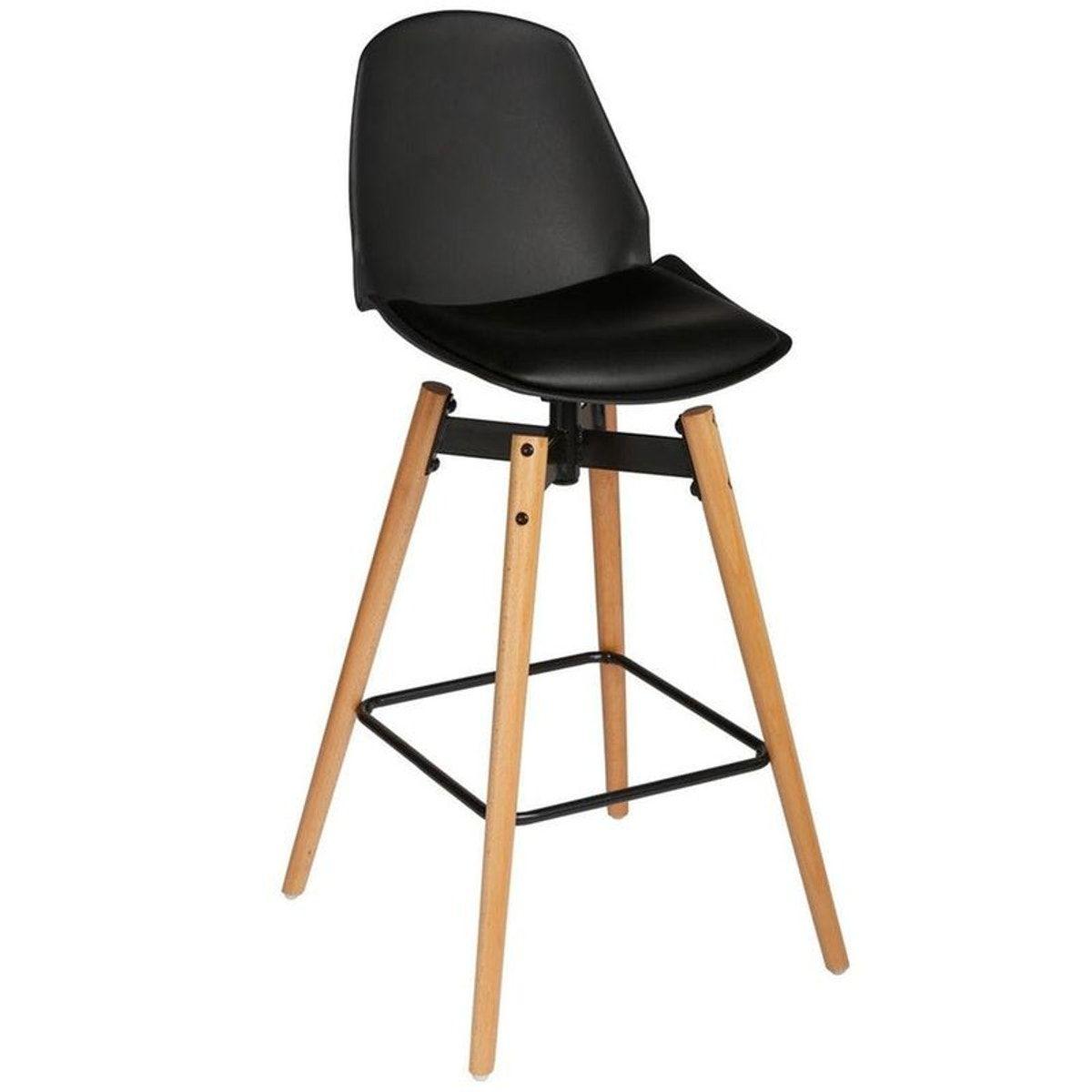 Chaise De Bar Assise En Pu Noir Et Pieds Bois Naturel Avec Support Pieds 50x50xh104 5cm Avec Images Tabouret De Bar Chaise Bar Tabouret