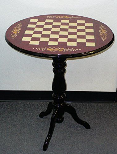 Round Briarwood Wine Floral Lacquered Chess Table Game Tables