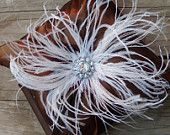 IVORY Wedding Ring Pillow - BLING Ringbearer Ostrich Feather and Crystal - Off White Champagne Custom Colors Feathers Ring Bearer Pillows. $35.00, via Etsy.