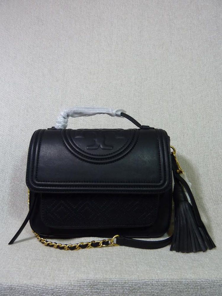 bd1d817ca32c NWT Tory Burch Black Leather Fleming Satchel  498  ToryBurch  Satchel