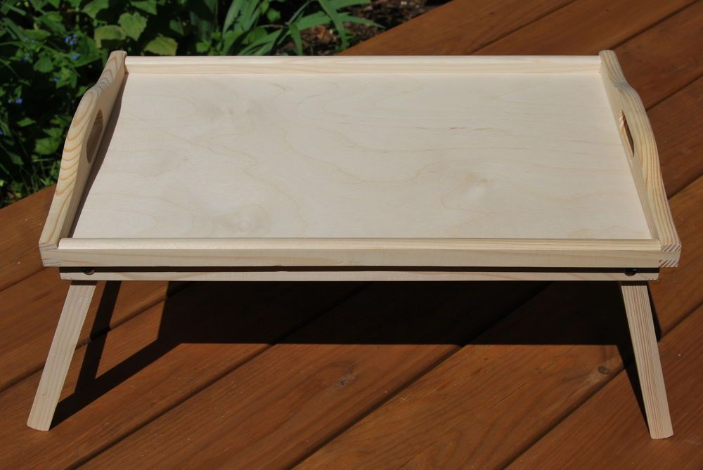Details About Wooden Breakfast Food Serving Lap Tray With Folding Legs For Bed Painted Lap Tray Wooden Serving Trays Tray