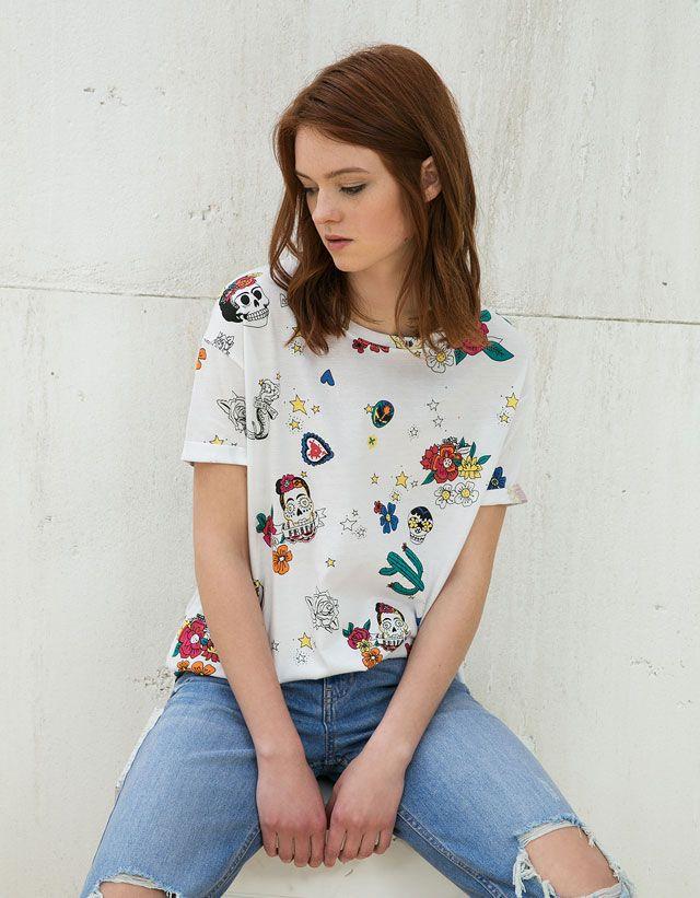 fab6213f0 T- Shirts - WOMAN - WOMAN - Bershka Serbia | Bershka | Camisetas ...