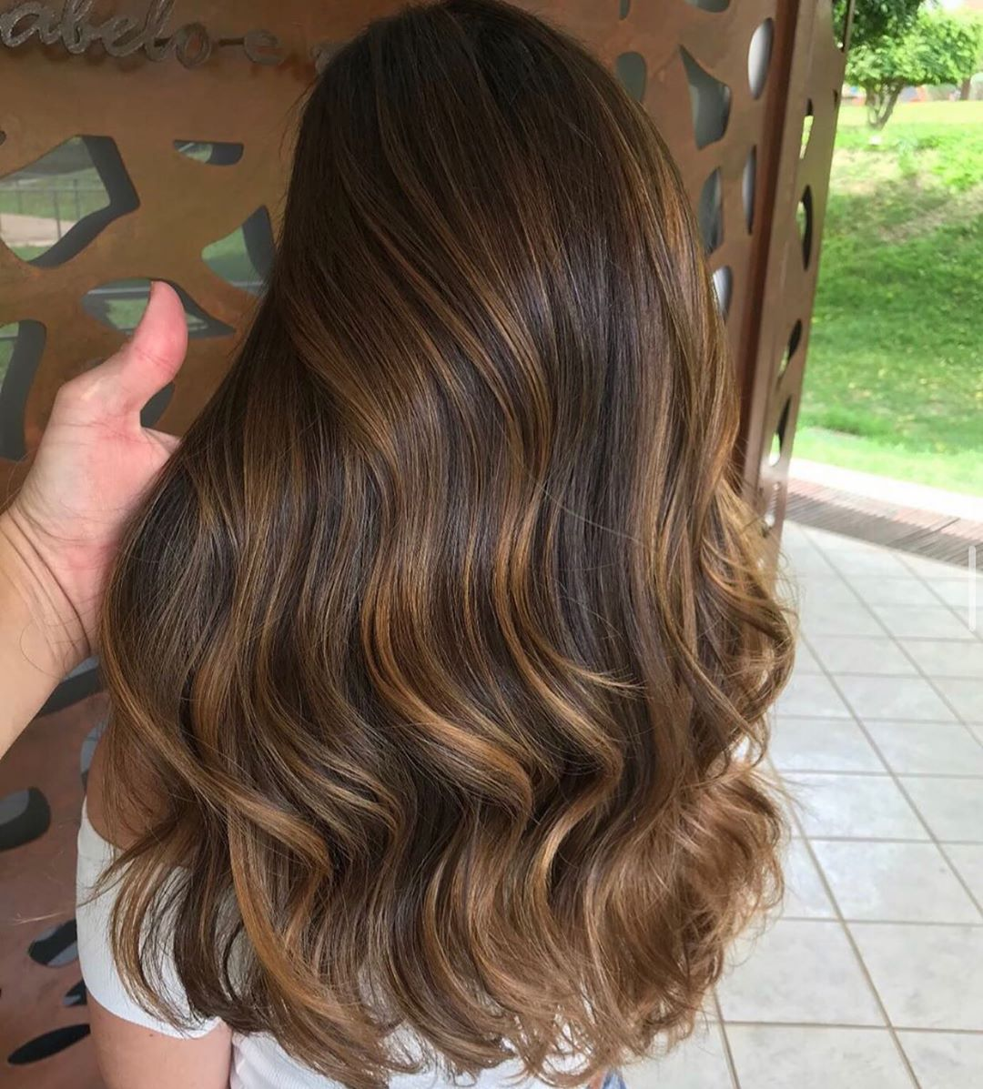 """Brown Auburn Balayage Human Hair Lace Front Ombré Wig 24"""" Wavy Hair"""
