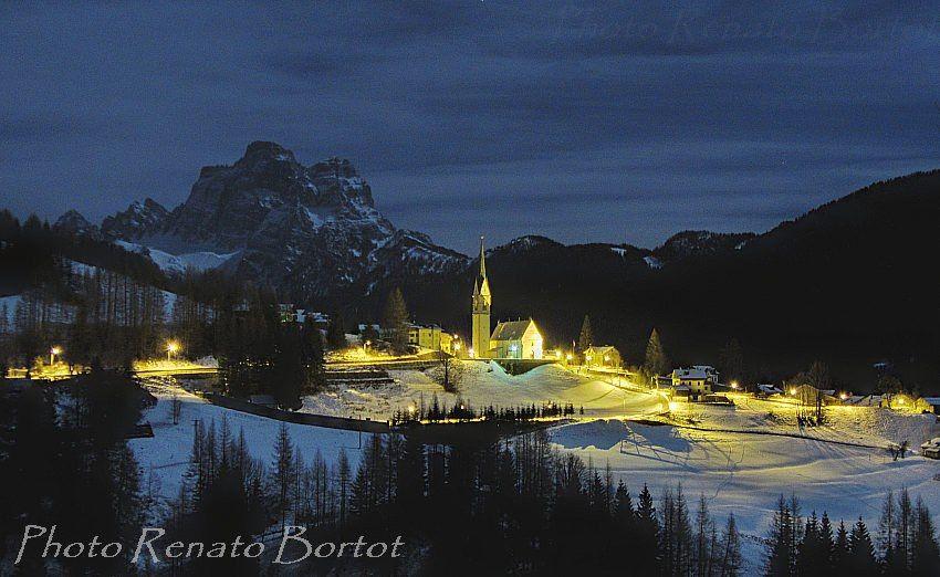 La chiesa di Selva di Cadore by night Belluno Dolomiti Veneto Italia by Renato Bortot