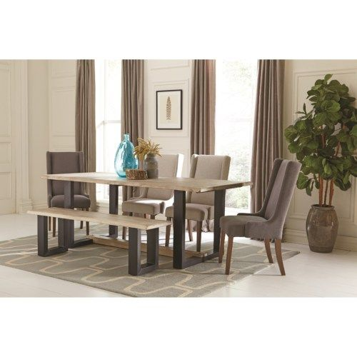 Coaster Levine Contemporary Table and Chair Set with Bench Coaster