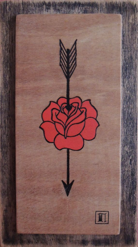 Red Rose with Arrow Old School Pyrography by PartCult on Etsy