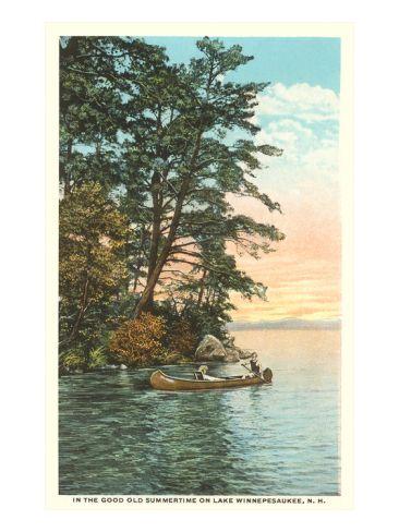 Canoing On Lake Winnipesaukee New Hampshire Art Print Art Com Scenic Art Lake Winnipesaukee Winnipesaukee