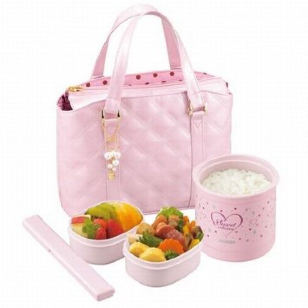 Japanese Lunch Box Thermos Jar Warm Bento w/ Bag Pink ZOJIRUSHI from Japan L0508