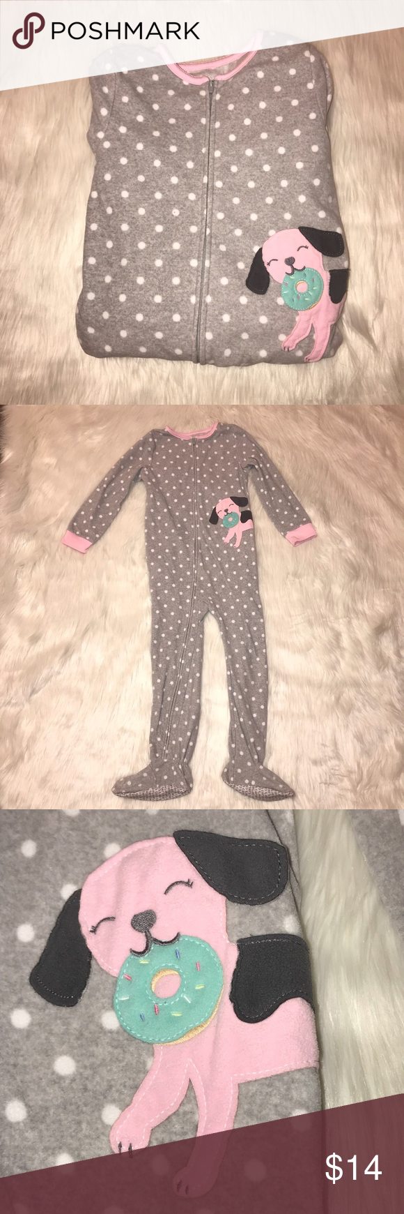13a140050 Girls Carters Donut Dog Onesie Pajamas