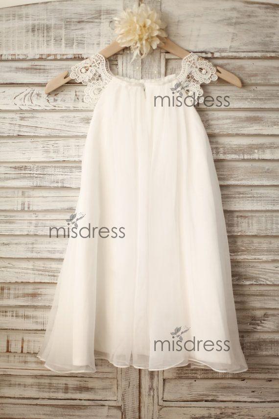 b22b5158084 Chiffon Lace Flower girl dress Cap Sleeves Boho Beach by misdress ...