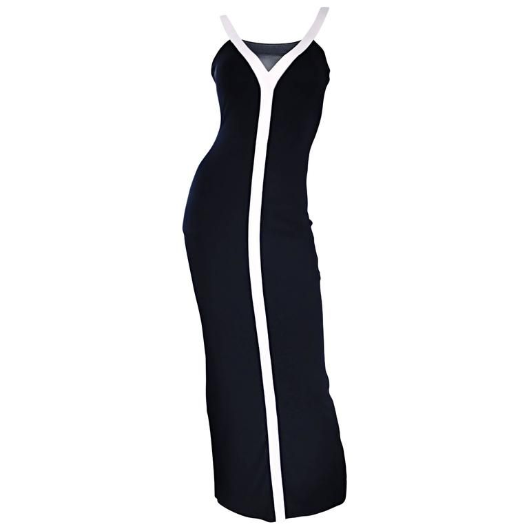 28f34836 1990s Dolce And Gabbana Vintage Black and White Iconic Jersey Dress Gown  Dress | From a