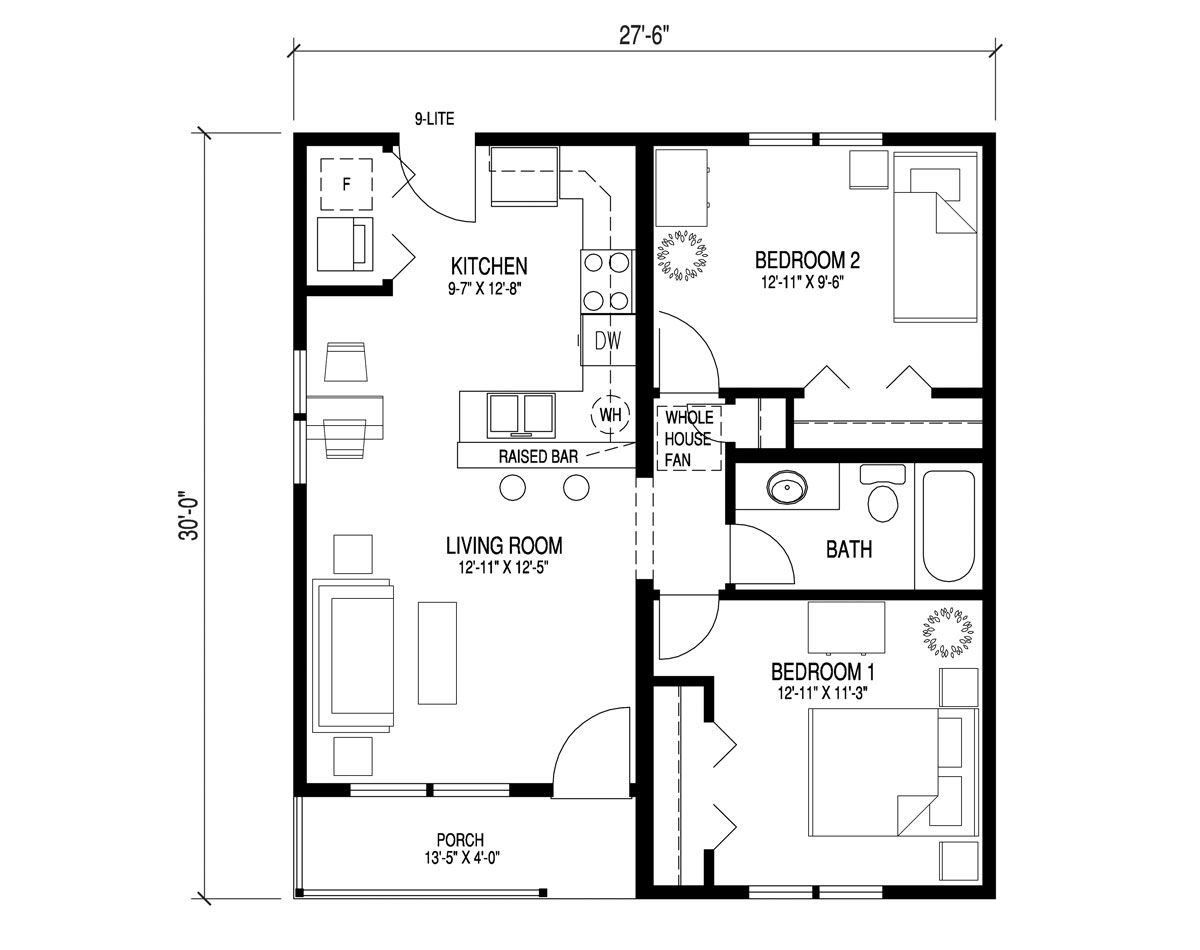floor plan for a bungalow