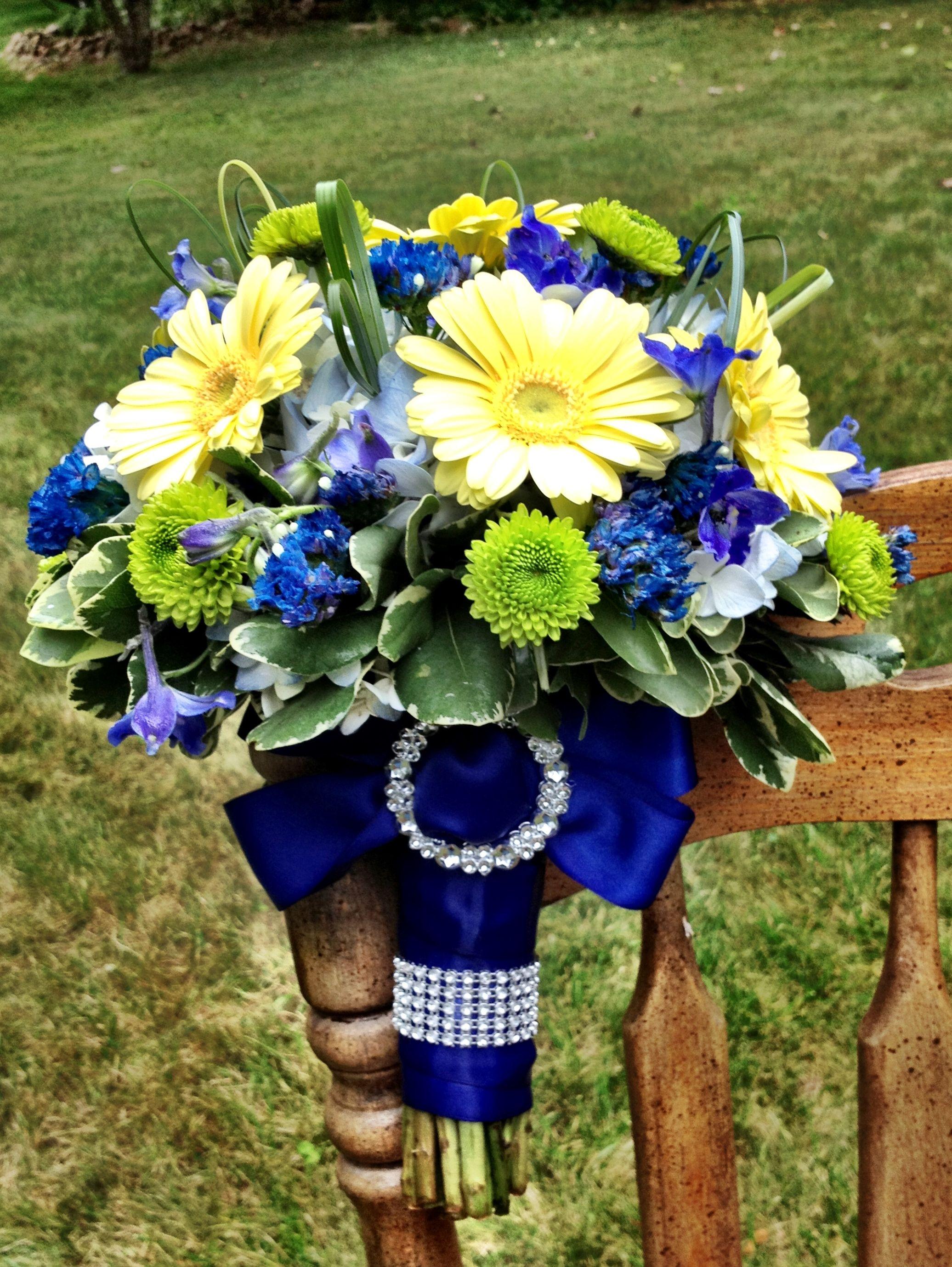 Royal blue wedding flower bouquet bridal