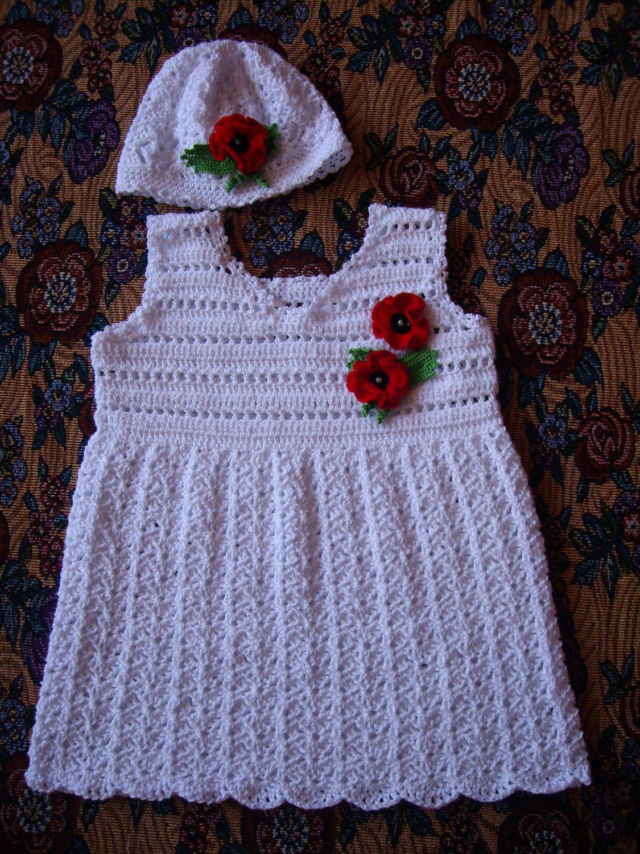 Crochet girl dress...White baby set 6-9 months...Crochet hat...Poppy.... $40,00, via Etsy.