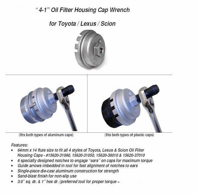 4-1 Toyota Lexus Oil Filter Housing Cap Wrench