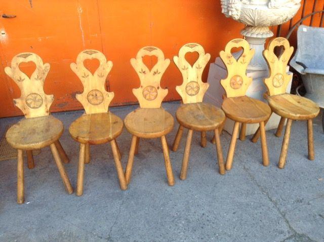 Sedie Di Legno Usate.Set 6 Sedie Rustiche Niente Di Nuovo Usato Antichita E