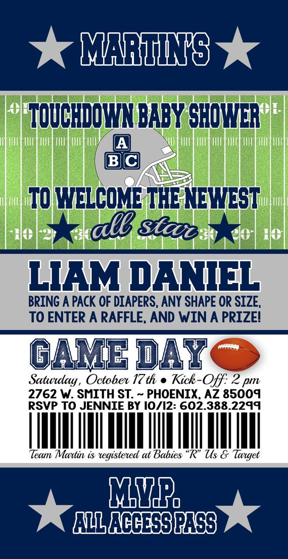 Football Baby Shower, Cowboy Baby Shower, Dallas Cowboys Baby Shower Ideas, Football  Invitations, Ticket Invitation, Baby Bash, Couple Shower, San Diego ...