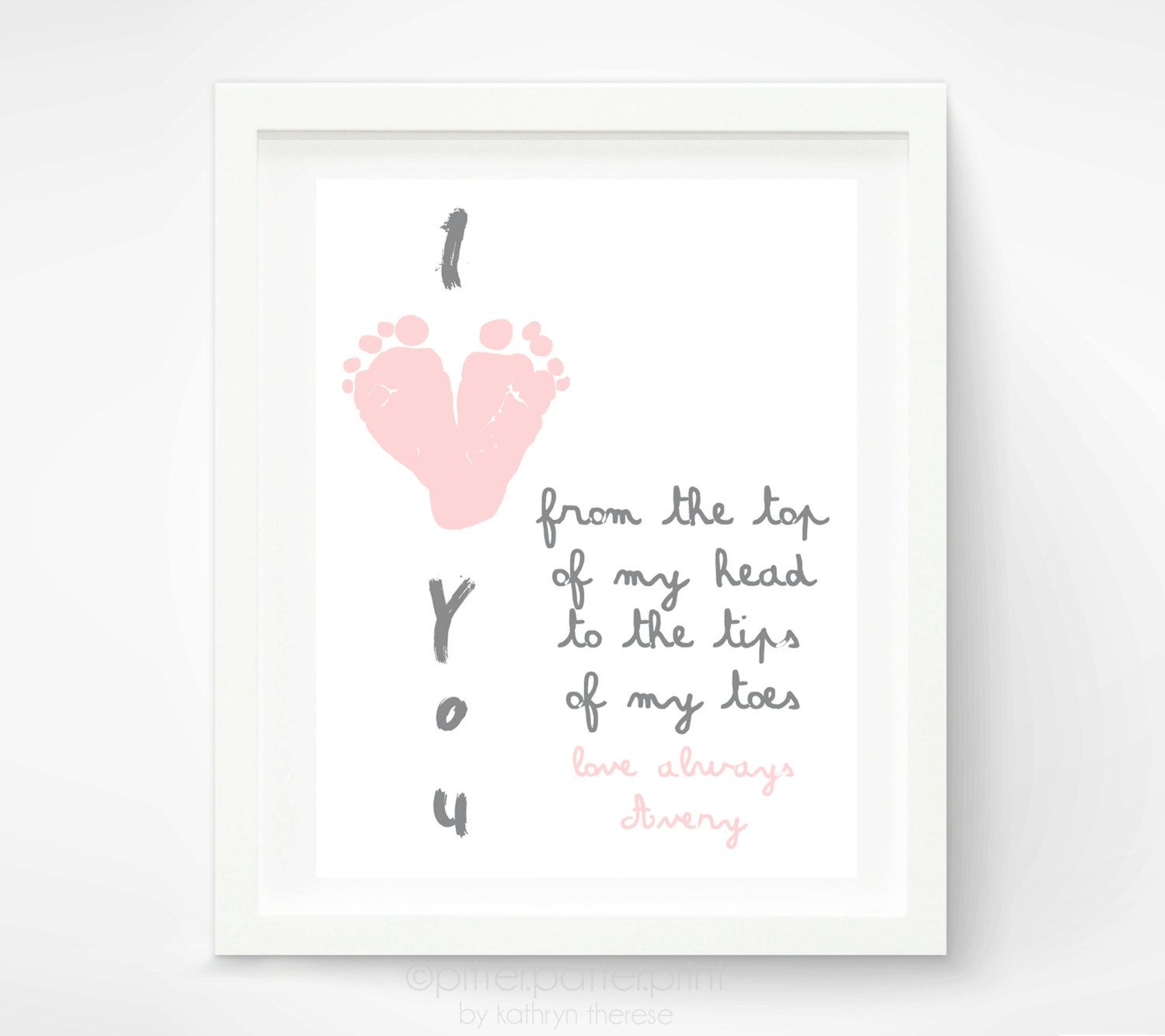 Mother's Day Gift for Grandma, I Love You Baby Footprint Art, Personalized for New Grandmother ...