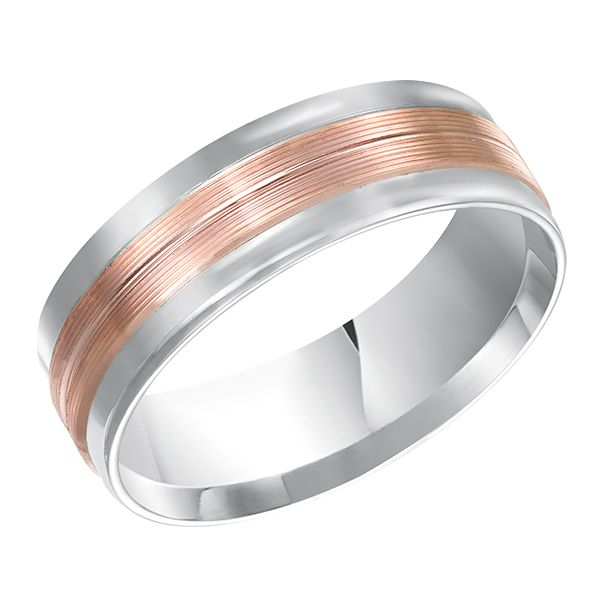 Two Toned Rose Gold And White Men S Wedding Band