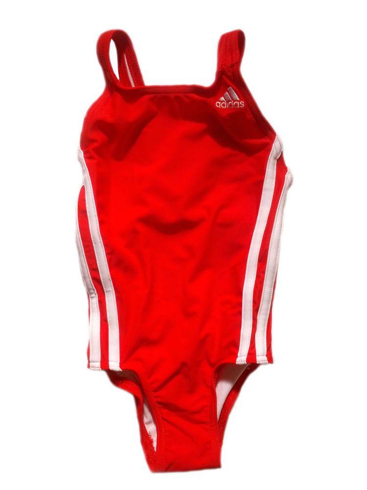 b3e2763023ac Adidas Girls Swimsuit Swimming Costume Infinitex One Piece Red 3-4 Years