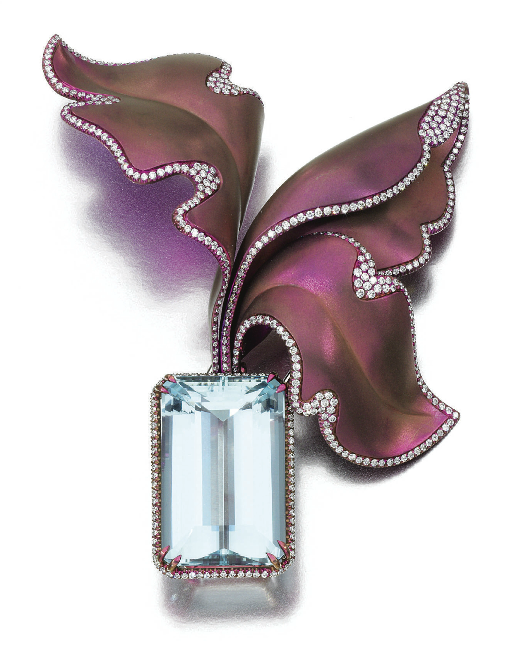 An Aquamarine and Diamond brooch by Margherita Burgener
