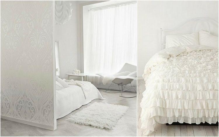 Chambre Blanche Romantique Avec Couverture à Froufrous