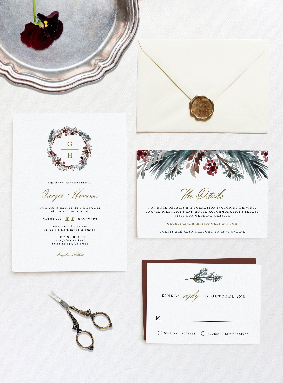 Noel Winter Wedding Invitation Template Set Christmas Etsy Wedding Invitation Templates Wedding Invitations Diy Printable Wedding Invitations