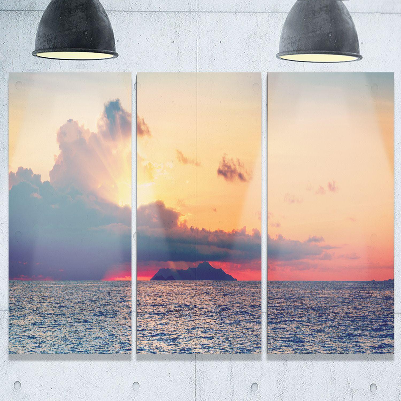 Designart - Sunset Over Sea Indian Ocean Panorama - Extra Seascape ...