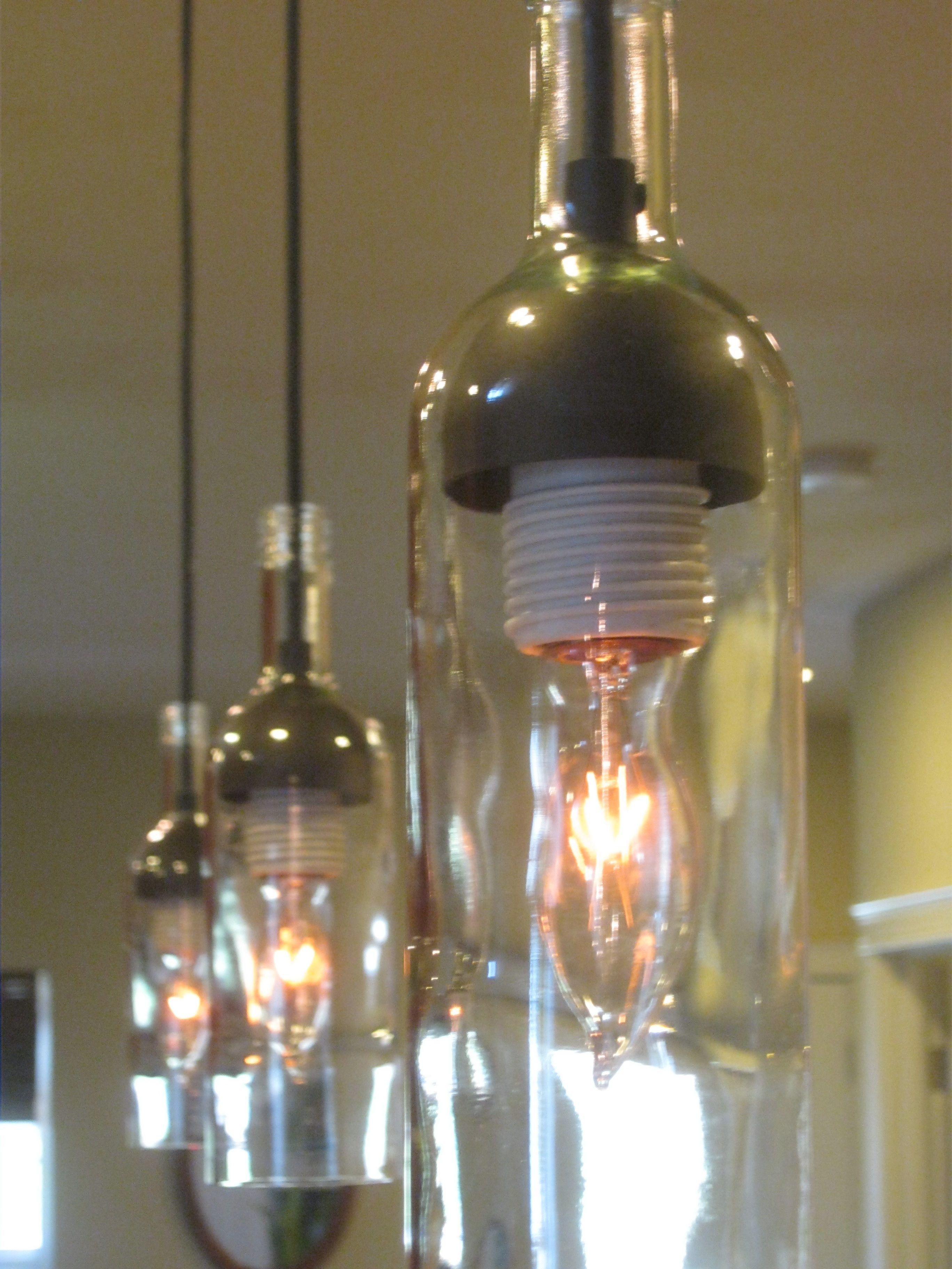 Triple Pendant Light From Bottles Diy Wine Glass Bottle Pendant