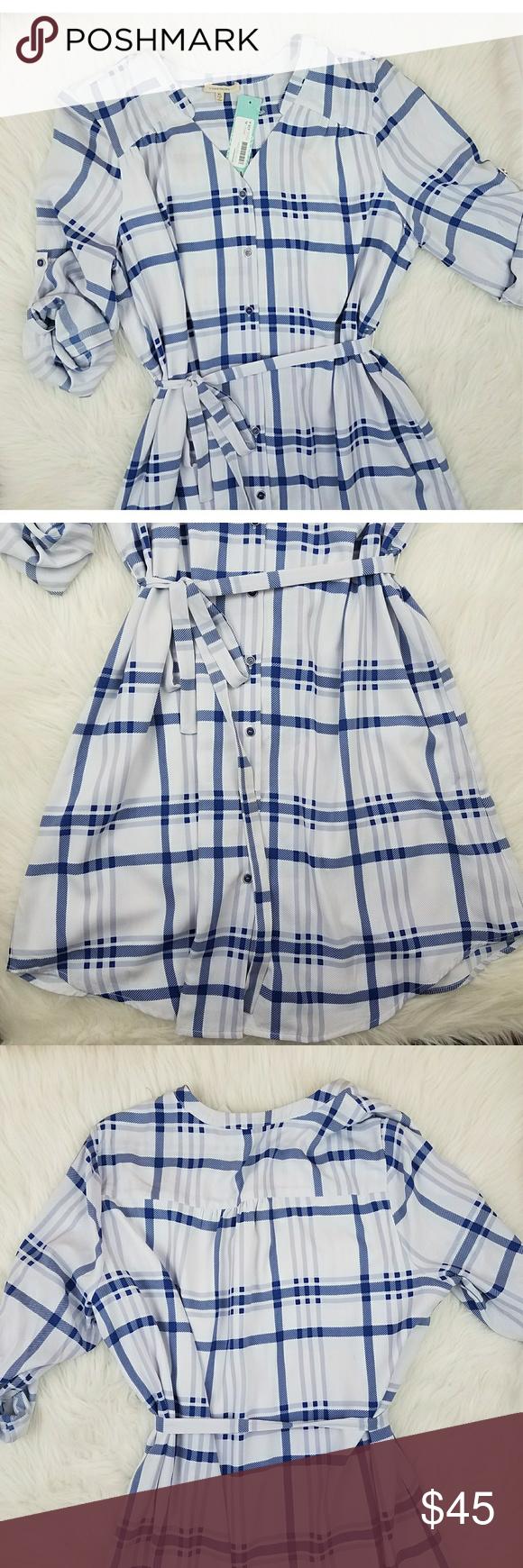 81b8b90291 Stitch Fix 41Hawthorn Cristen Shirtdress NWT shirtdress dress by 41Hawthorn  Stich Fix. Blue   white stripes