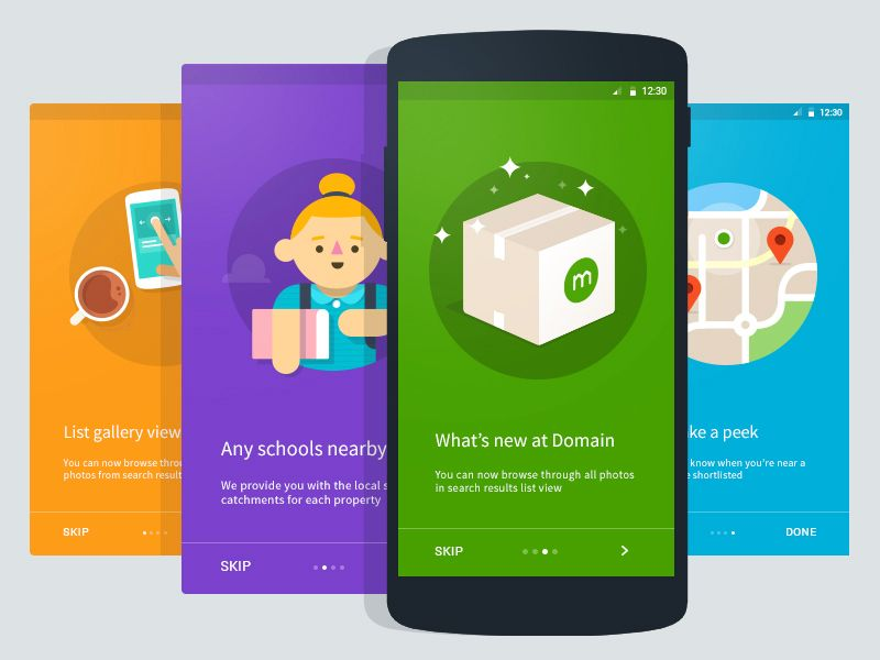 Domain Android Intro Cards Android App Design Android Design