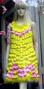 And look at this! A dress made out of Easter peeps?!? This is so cool, and bizarre! Wouldn't wear it 'cause what if I get hungry! :)
