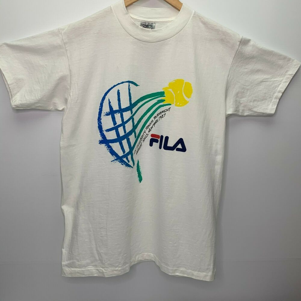 Vintage T Shirt Xl 1987 Fila Ny Un Celebrity Tennis Tournament Single Stitch Tee Oneita Graphictee In 2020 Stitch Tee Vintage Tshirts Shirts