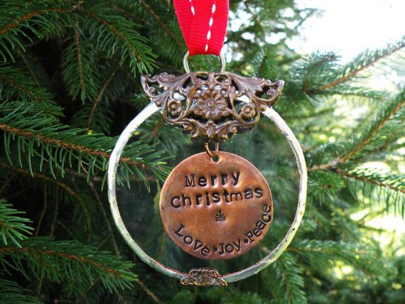 Handstamped Personalized Christmas Ornament by RaiseMyGlass, $3800