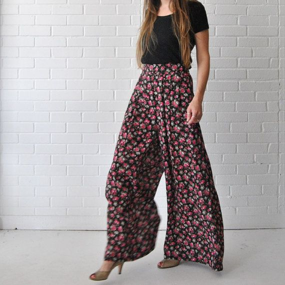 Wide Leg Pants // 90s Flowy Boho Lightweight Semi by JACKNBOOTS ...