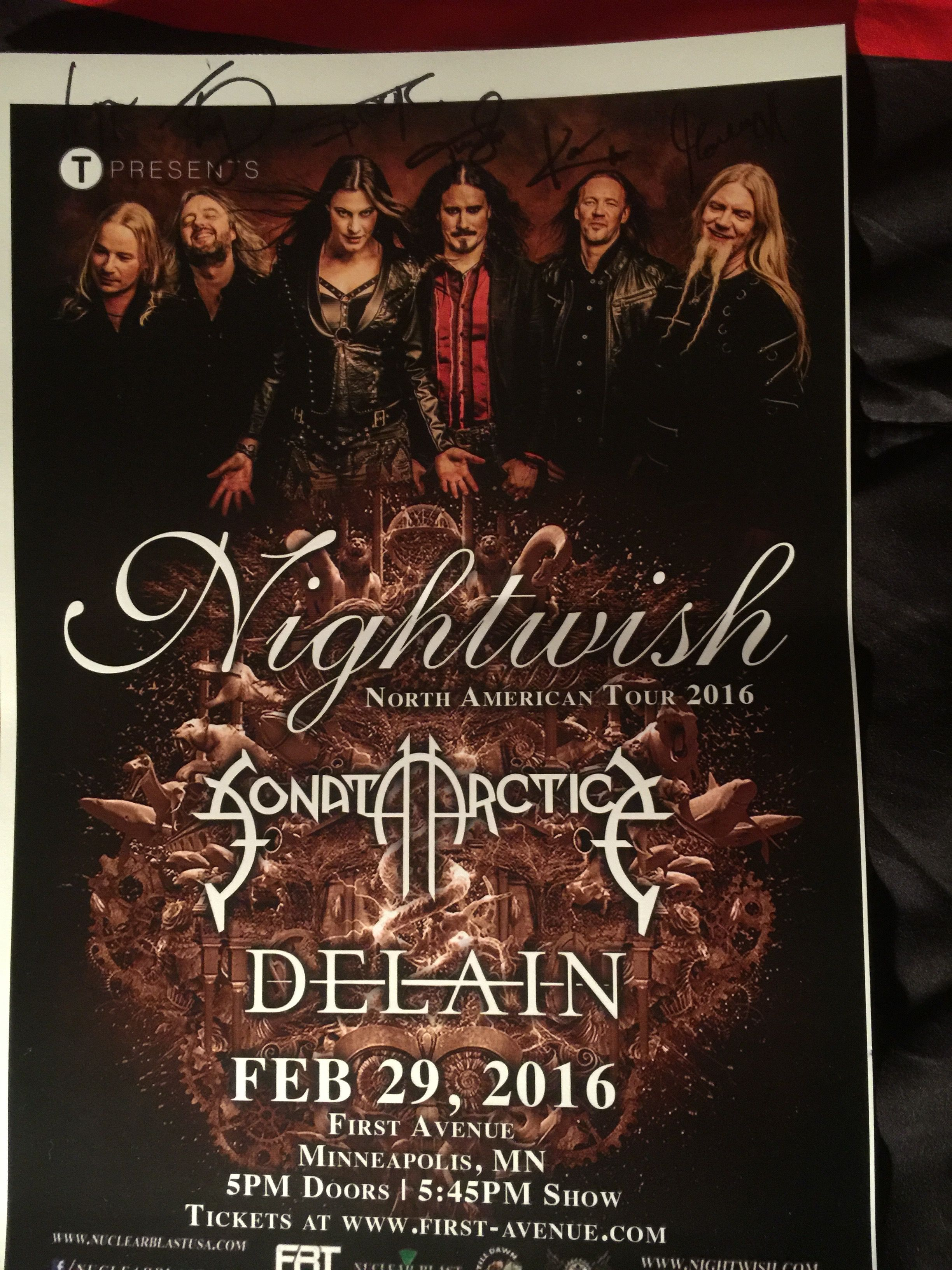 My Autographed Tour Poster From The Nightwish Meet And Greet