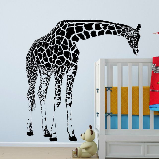 large giraffe wall decal vinyl sticker - animal series wallpaper