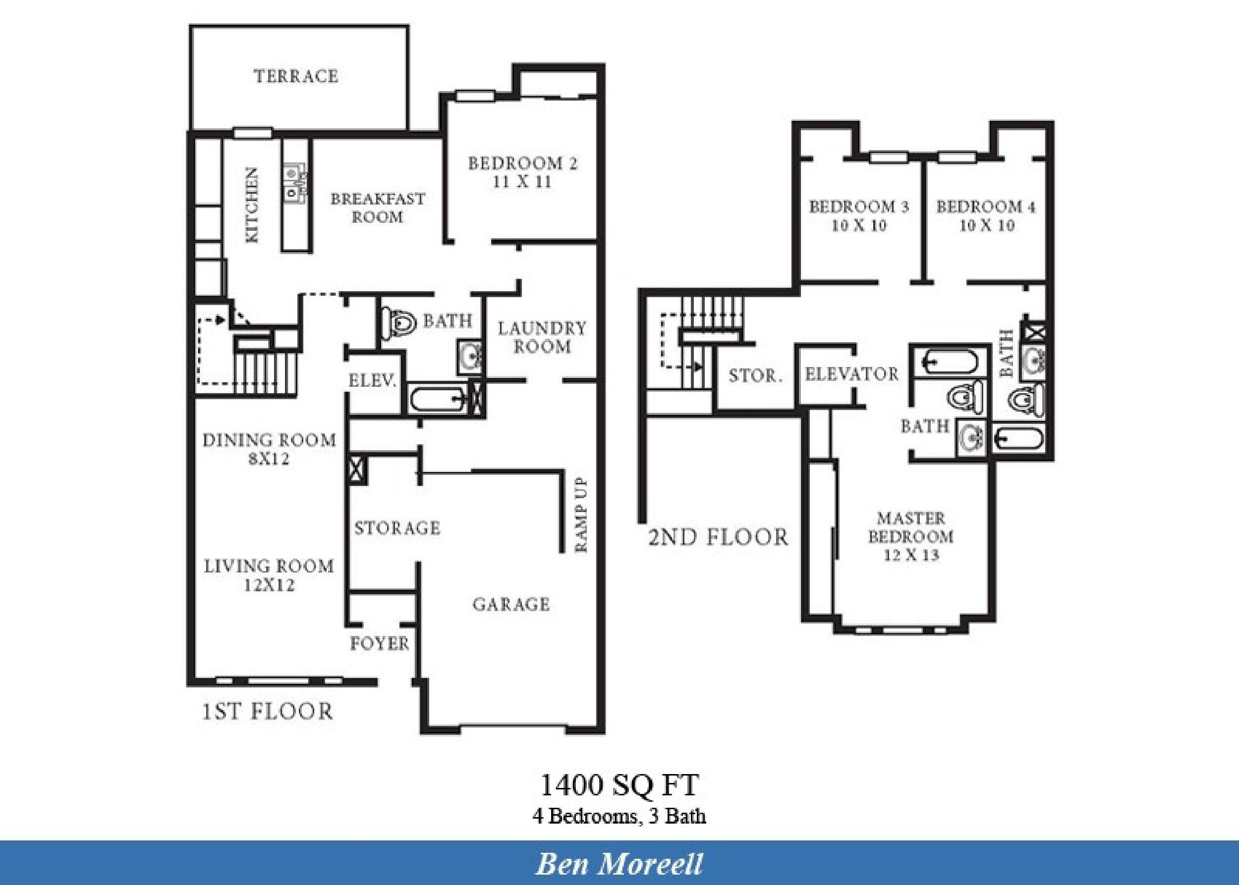 Ns norfolk ben moreell neighborhood 4 bedroom 3 bath for 1400 sq ft floor plans