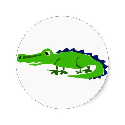 Funny Alligator Primitive Art Stickers #alligators #stickers #funny #animals And www.zazzle.com/naturesmiles*