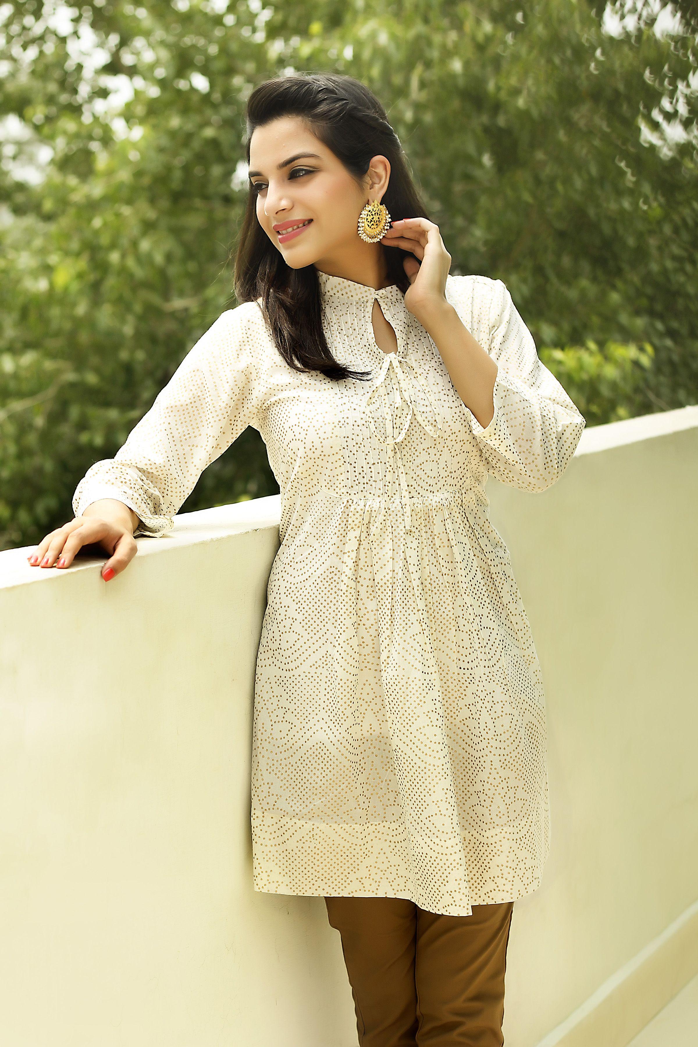 white #gold #khari #summer #light #cool #women #tunic #kurti ...