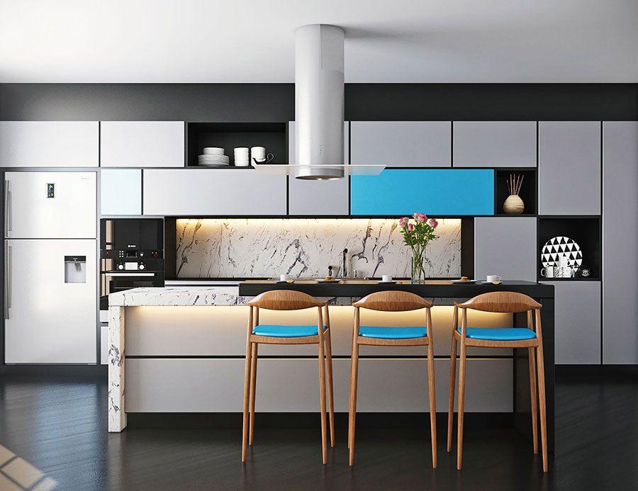 Interni Moderni Cucine : Cucina blu: 25 idee di arredo in stile moderno e classico Кухня