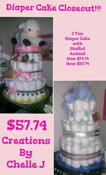 """3 Tier Diaper Cakes """"Creations By Chelle J"""