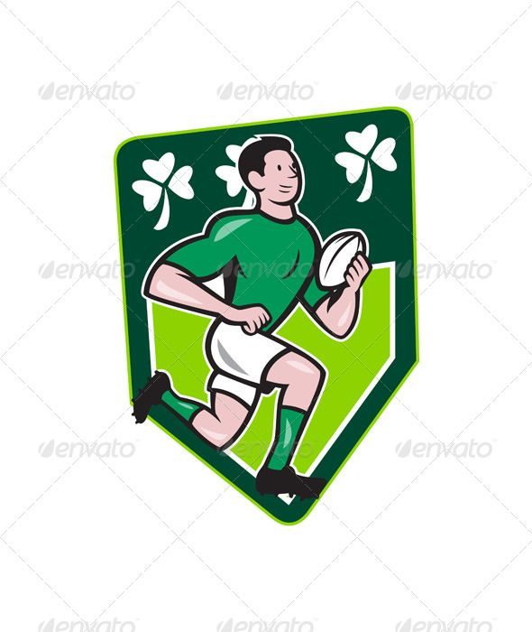 Irish Rugby Player Running Ball Shield Cartoon . Illustration of an Irish rugby player running with the ball set isnide shield with Ireland shamrock clover leaf done in cartoon style. Editable EPS8 (you can use any vector program), JPEG and Transparent PNG (can edit in any graphic editor) files are included. Created: 5 February 14 Graphics Files Included: Transparent PNG, JPG Image, Vector EPS Layered: No Minimum Adobe CS Version: CS Tags artwork, ball, cartoon, clover leaf, crest, graphics…