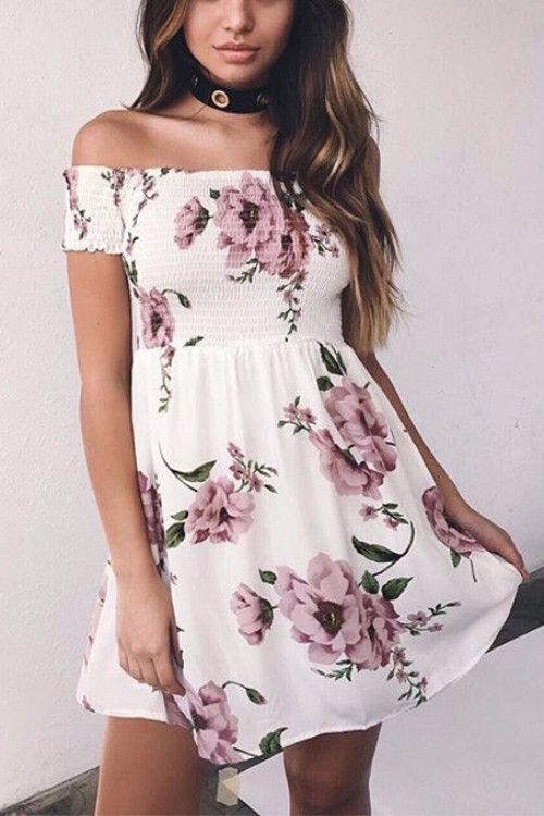 4b2121c576 Off Shoulder Floral Mini Dress