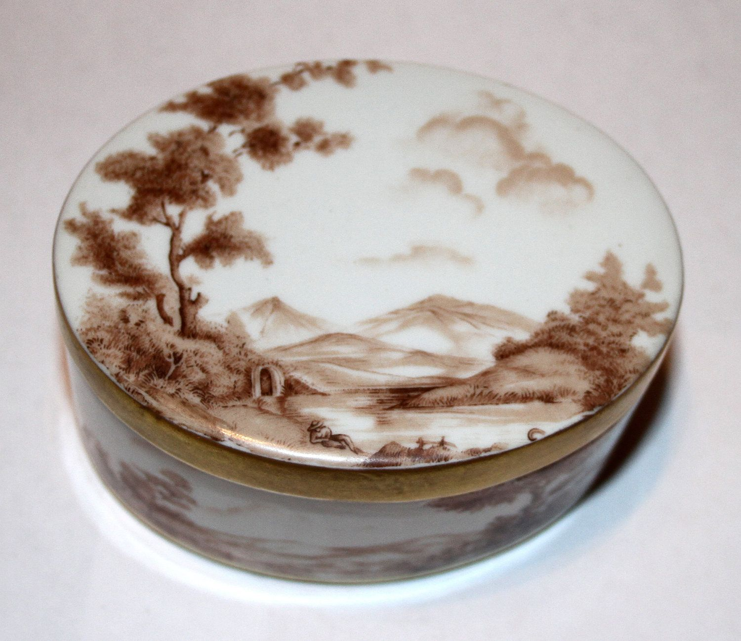 SALE Vintage Porcelain Hand Painted Compote, Trinket Box from Europe -SALE- $7.99 usd
