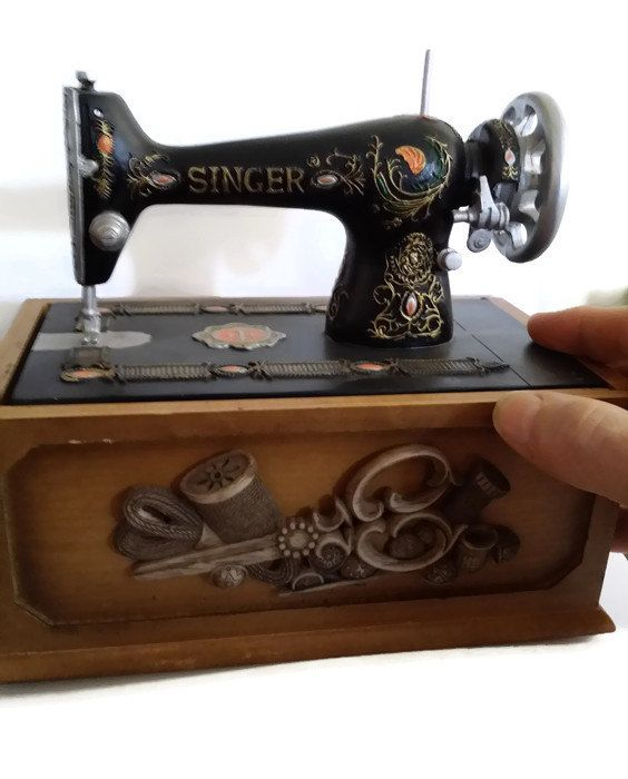 Miniature Singer Sewing Machine Notion Sewing Box Vintage Sewing Box Cool Miniature Singer Sewing Machine