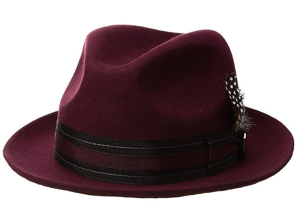 d3e6f643a Stacy Adams Pinch Front Wool Fedora (Bordeaux) Fedora Hats. Find ...