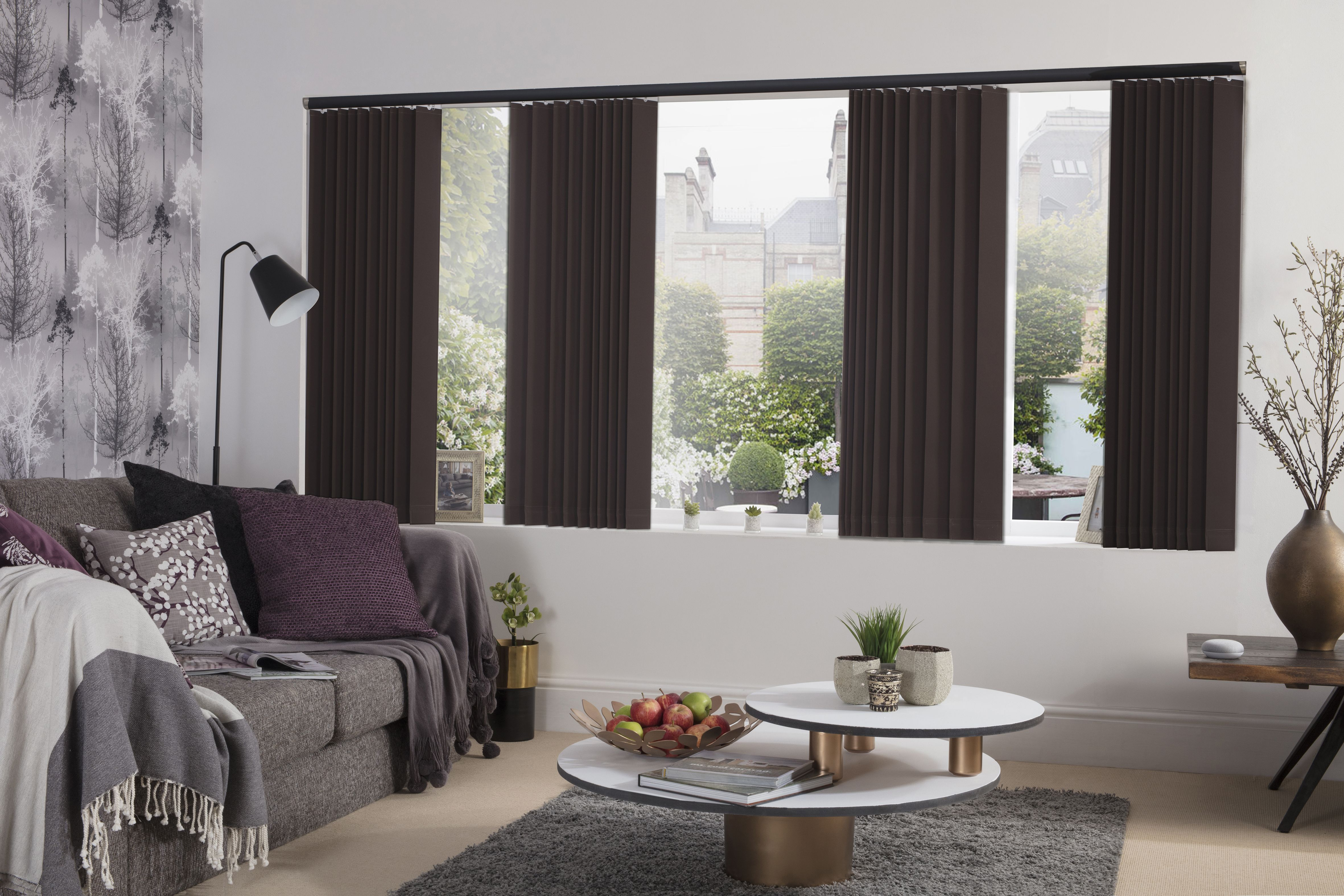 Palette Vertical Blinds In Espresso From Style Studio Contemporary Living Room Living Room Blinds Contemporary Decor Living Room Living Room Decor Inspiration